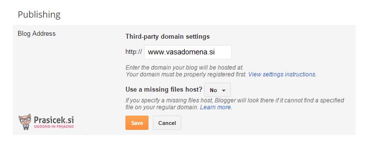 Dodajanje domene v Blogger