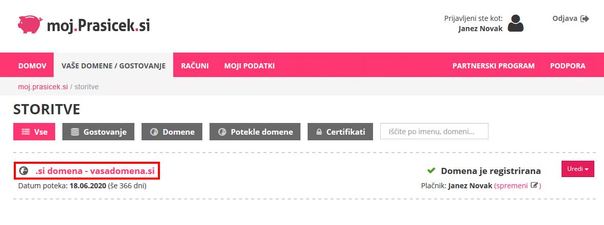 Moj Prašiček - izbira domene