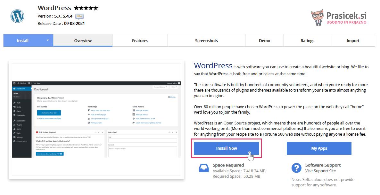 Softaculous - WordPress namestitev