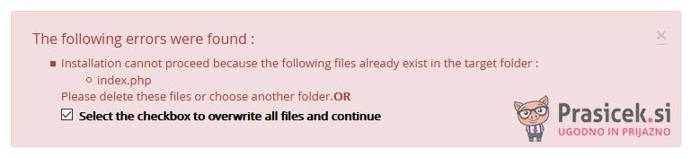 Softaculous - WordPress - napaka pri namestitvi sistema