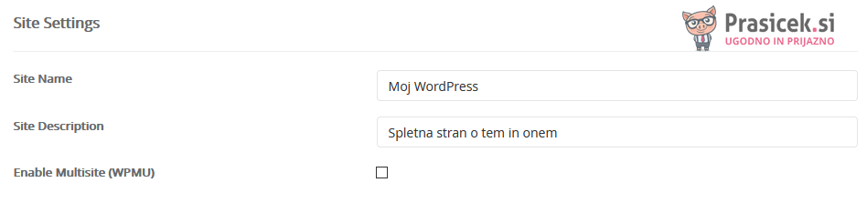 Softaculous - WordPress - nastavitve spletne strani