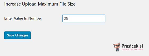 Maksimalna velikost datoteke - uporaba vtičnika